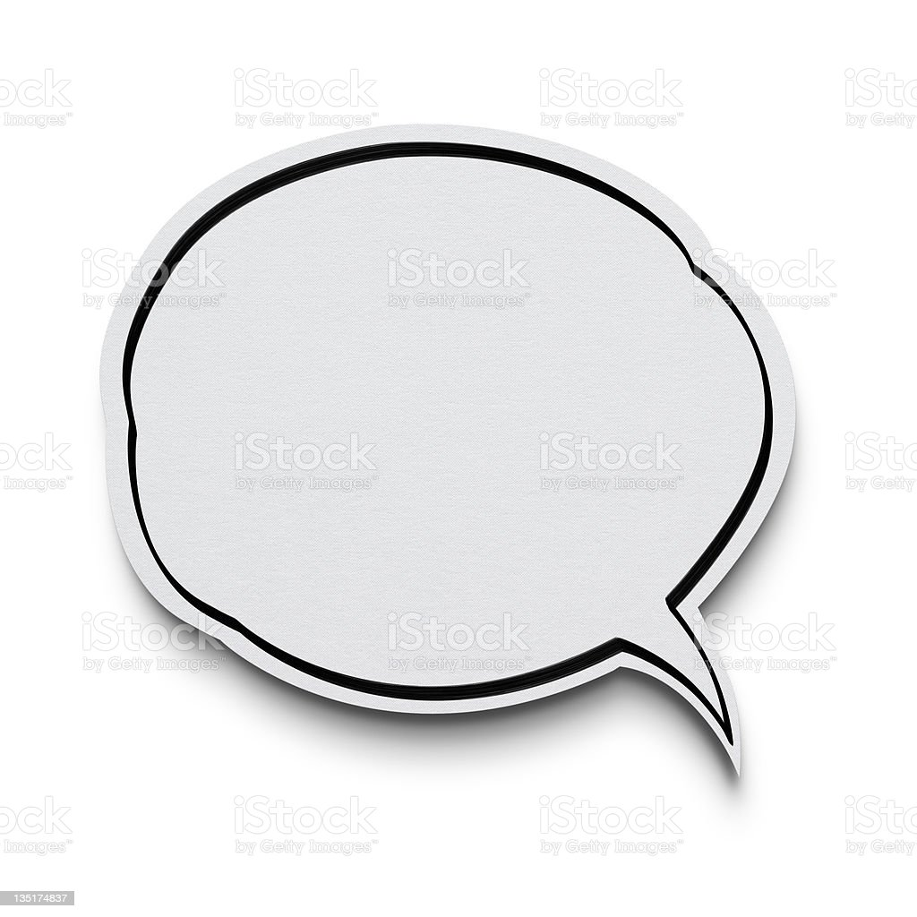 Speech bubble on white with clipping path stock photo