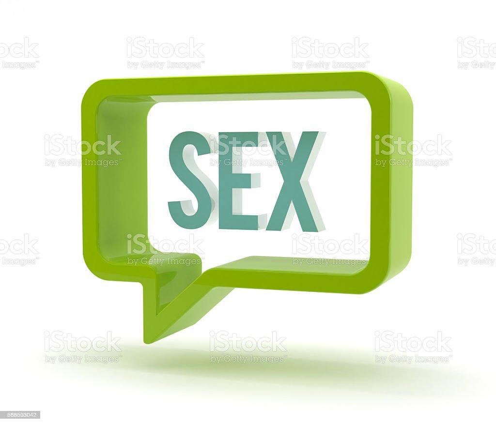 3D speech bubble - sex stock photo