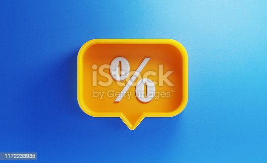 Speech bubble shaped yellow button with percentage sign on blue background. Horizontal composition with copy space. Sale concept.