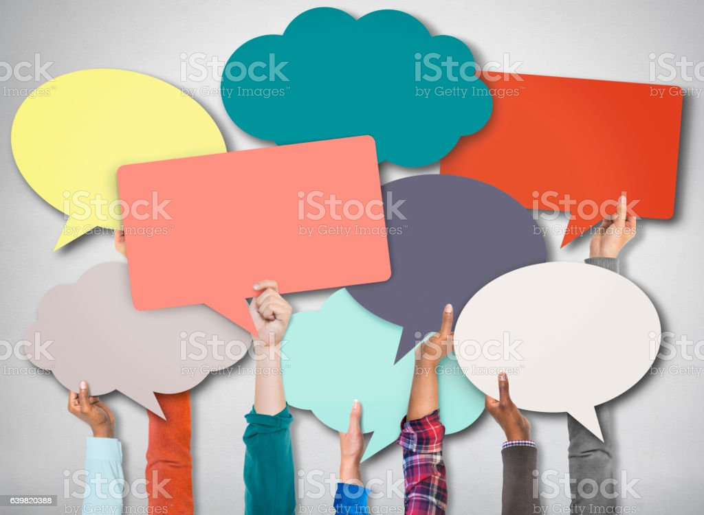 Speech Bubble Sign Symbol Communication Concept stock photo