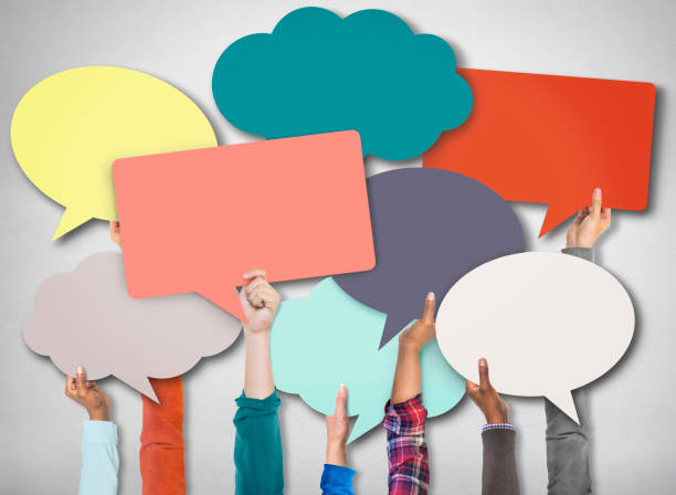 speech bubble sign symbol communication concept - thought bubble stock photos and pictures