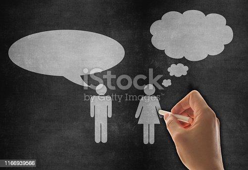 185325970 istock photo Speech Bubble Sketched on Blackboard 1166939566