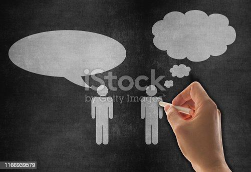185325970 istock photo Speech Bubble Sketched on Blackboard 1166939579