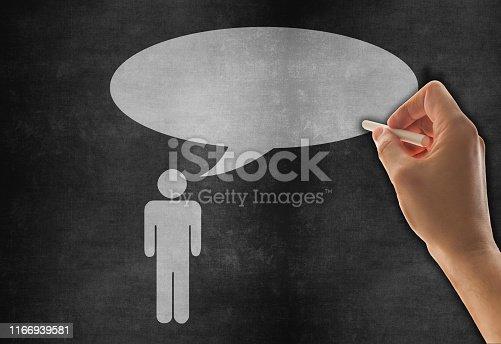 185325970 istock photo Speech Bubble Sketched on Blackboard 1166939581