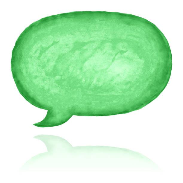 Rede-Blase-Symbol mit grünen Aquarellfarbe Textur isoliert auf weißem Hintergrund. – Foto