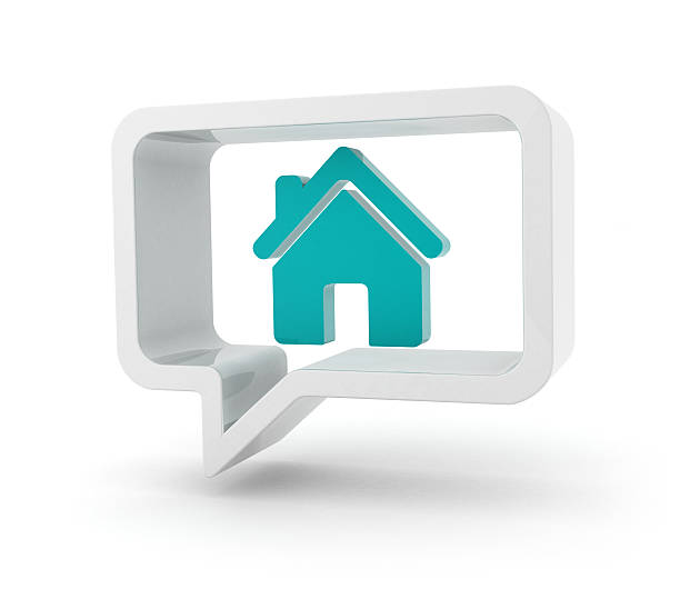 Speech bubble with house icon stock photo