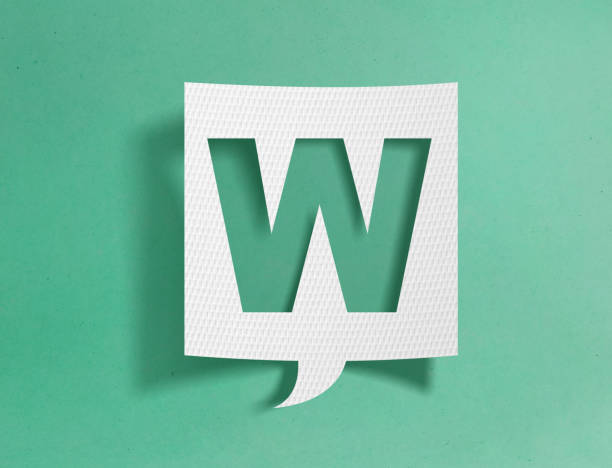 Speech bubble with letter W Speech bubble with letter W on green background letter w stock pictures, royalty-free photos & images
