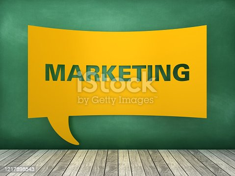 1128981457 istock photo Speech Bubble with MARKETING Word on Chalkboard - 3D Rendering 1217898543