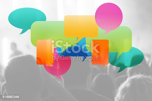 istock Speech Bubbles and people in background 516982346