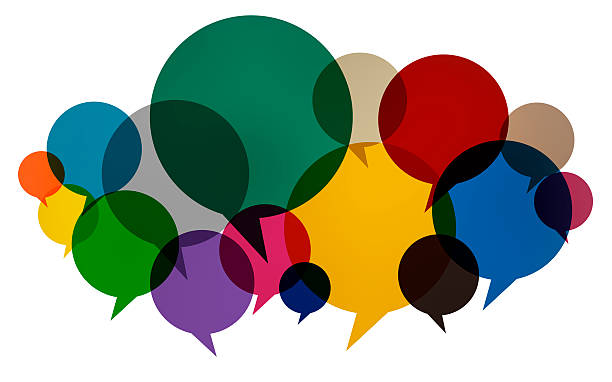 Speech Bubbles Colorful Communication Thoughts Talking Concept stock photo