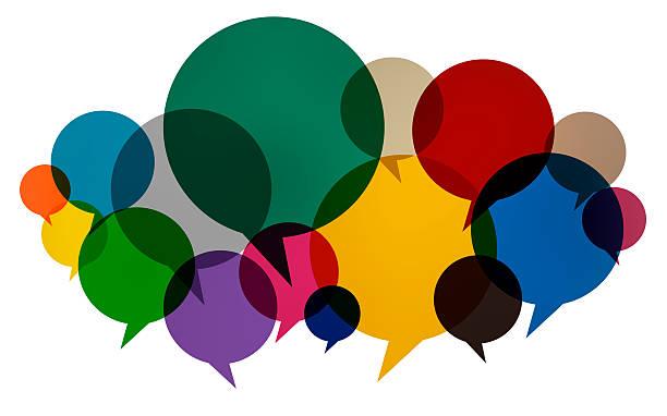 discours de bulles colorées pensées parler de concept de communication - bulle de dialogue photos et images de collection