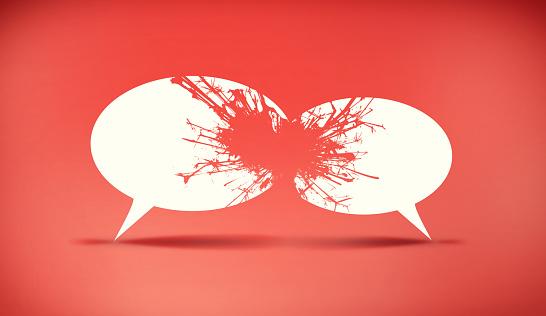 Speech bubbles icon symbold crashing . Social opinion problems and diplomacy debating. Aggresive dialogue . Controversy dialogue concept .
