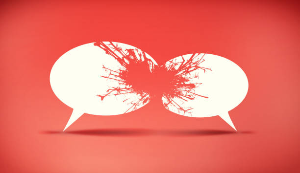 Speech bubbles icon symbold crashing . Social opinion problems and diplomacy debating. Aggresive dialogue . Controversy dialogue concept . Speech bubbles icon symbold crashing . Social opinion problems and diplomacy debating. Aggresive dialogue . Controversy dialogue concept . shock tactics stock pictures, royalty-free photos & images