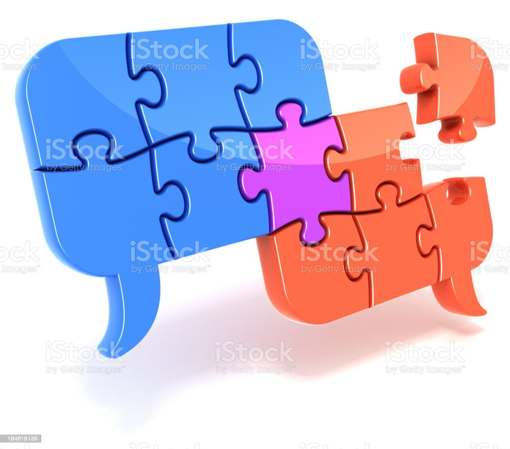 Speech bubbles jigsaw puzzle royalty-free stock photo