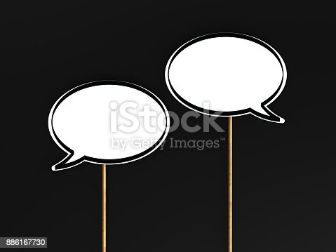 istock Speech Bubbles On Black Background 886167730