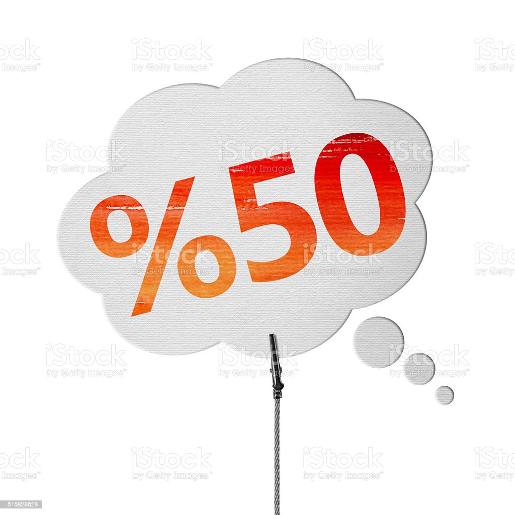 50% OFF Speech Bubbles (Clipping Path) stock photo