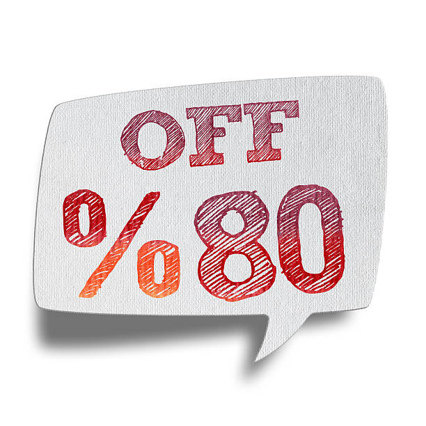 80% rabatt sprechblasen (clipping path - matheblatt etiketten stock-fotos und bilder
