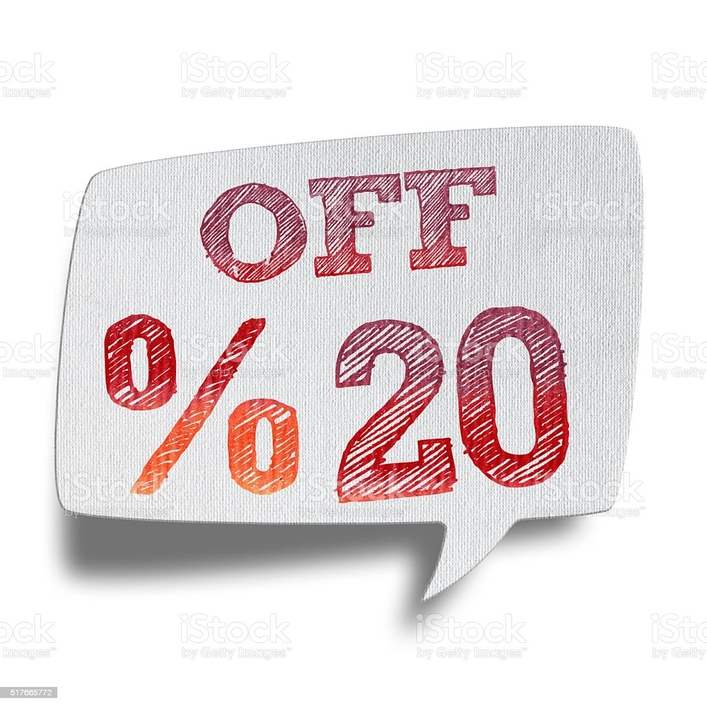 20% OFF Speech Bubbles (Clipping Path) stock photo