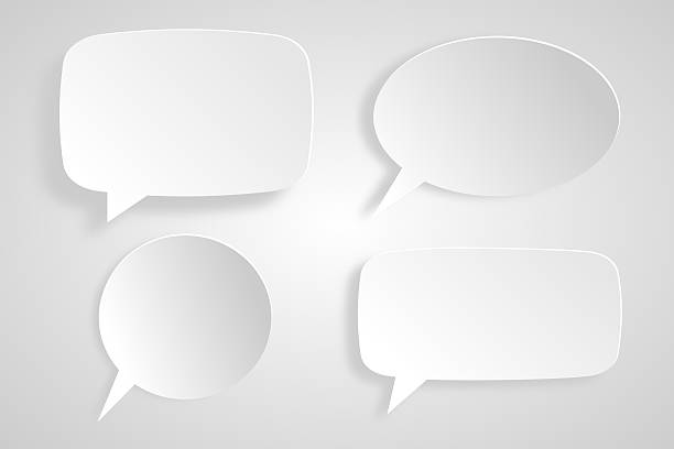 4 speech bubbles - thought bubble stock photos and pictures