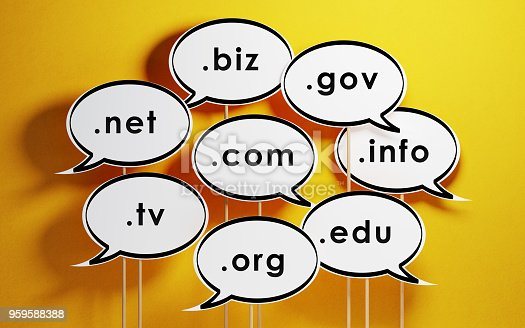 Speech bubble with domain extensions on yellow background. Horizontal composition with copy space.