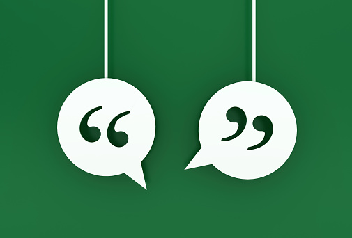 Speech Bubbles with Quotation Mark - 3D Rendering