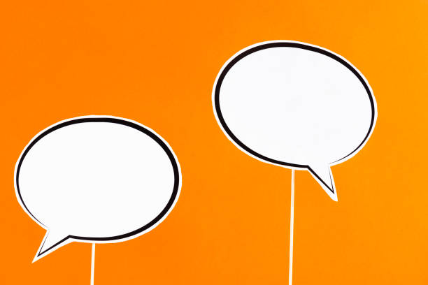 Speech Bubbles With Wooden Sticks stock photo