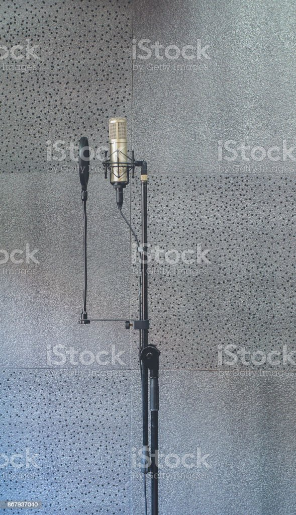 Speech pad Sound recording room and Mic condenser stock photo