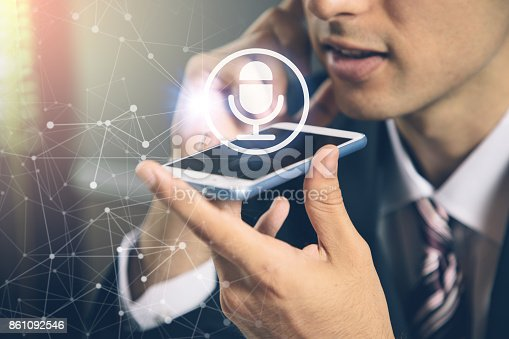 istock speech recognition concept. hands-free communication. machine translation. 861092546