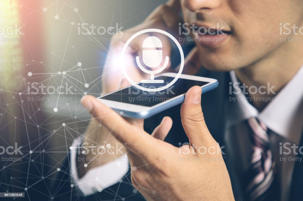 speech recognition concept. hands-free communication. machine translation. stock photo