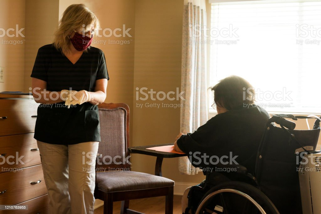 Speech therapy during COVID-19 - Royalty-free 50-59 Years Stock Photo