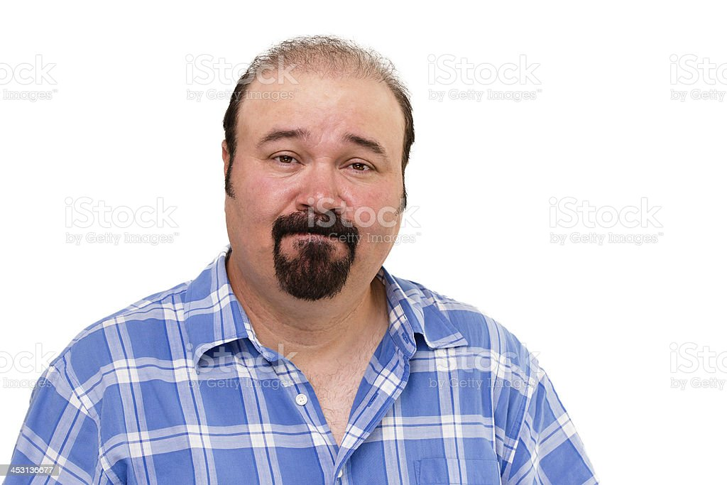 Speechless middle-aged man, portrait on white stock photo