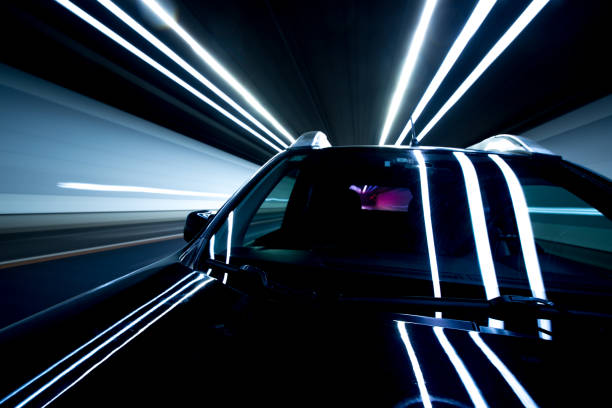 speed and motion in tunnel - long exposure stock pictures, royalty-free photos & images