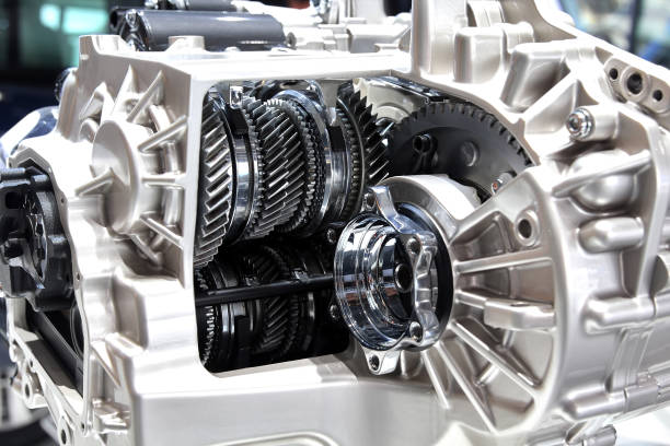 6 speed automatic robotic gearbox. internals, gears and friction clutches stock photo