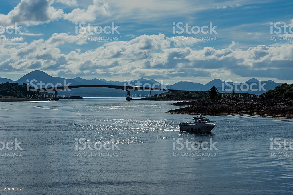 Speed Boat, Bridge and Cuillins stock photo