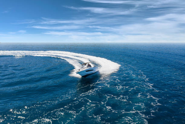 Speed boat in mediterranean sea, aerial view stock photo