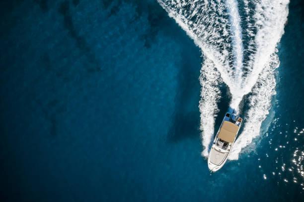Speed boat in mediterranean sea stock photo