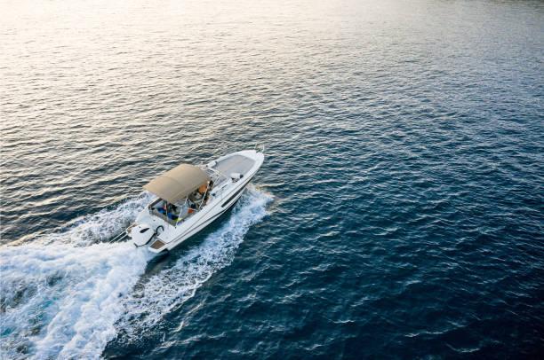 Speed boat in mediterranean sea. stock photo