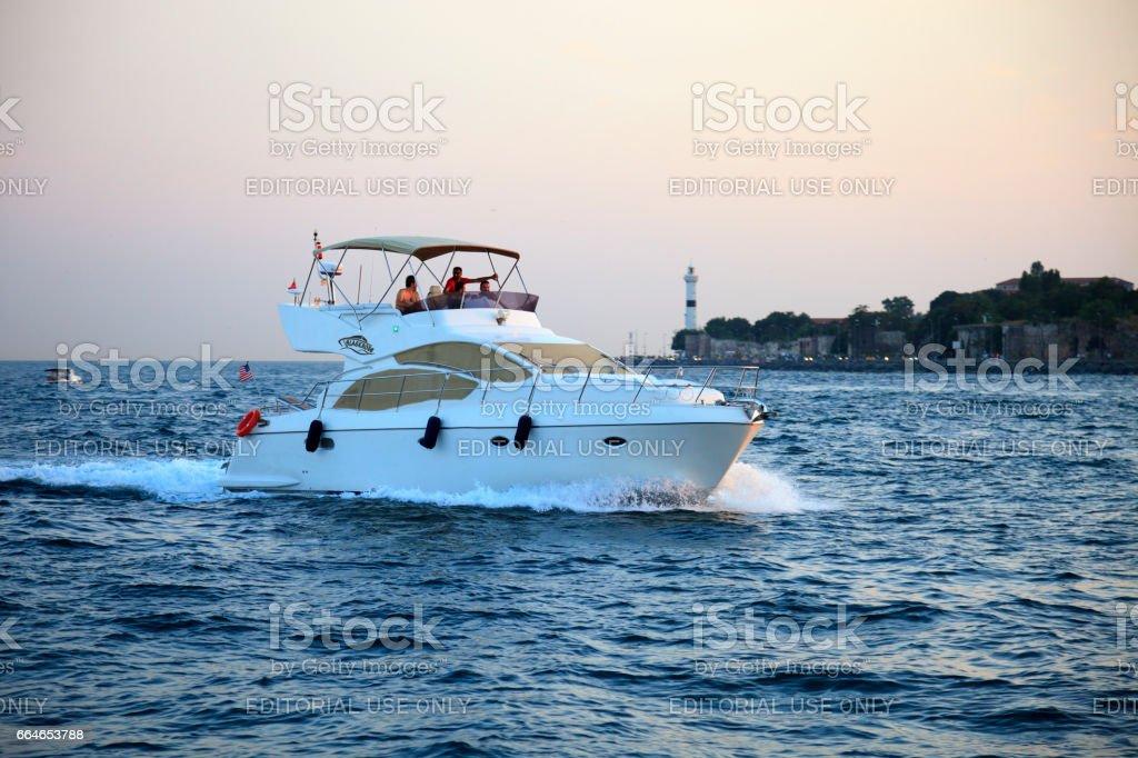 Speed boat in the Bosphorus stock photo