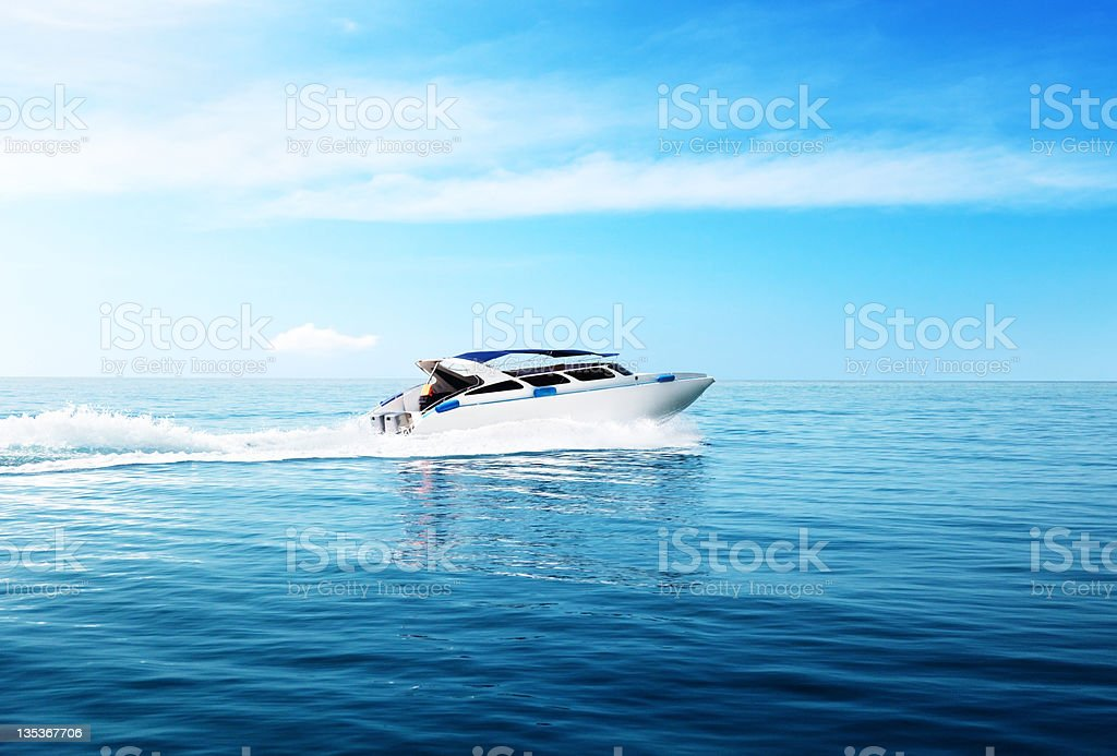 speed boat in tropical sea stock photo