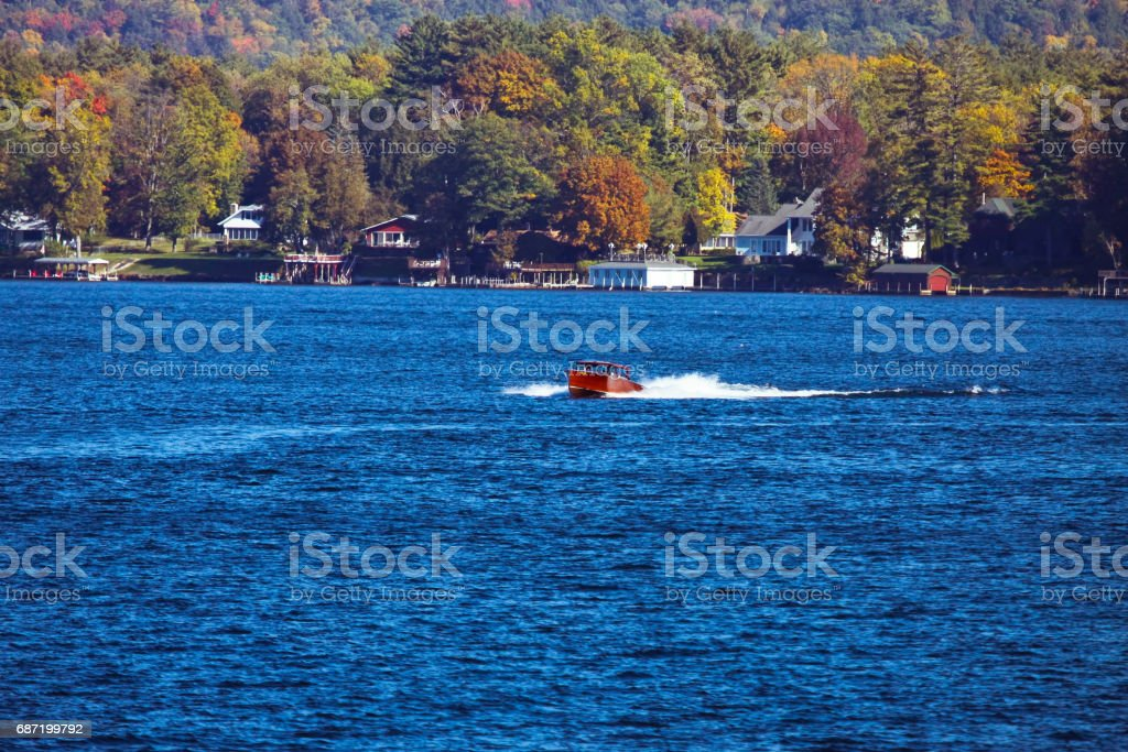 Speed boat speeding on Lake Gorge stock photo