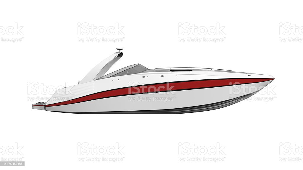 Speed boat, vessel, boat isolated on white background, side view stock photo
