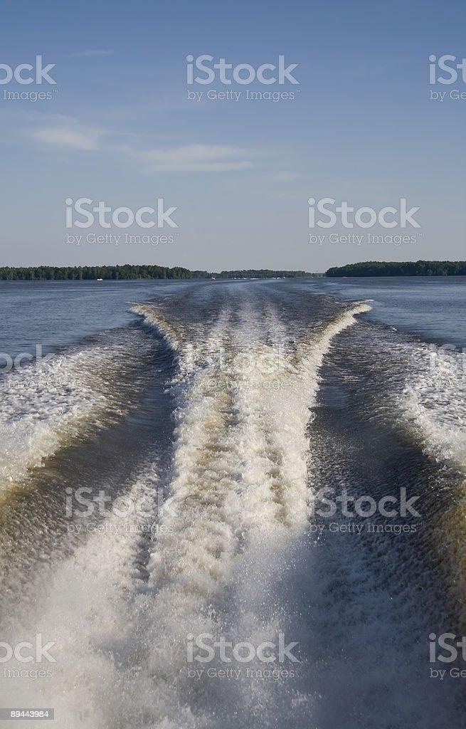 Speed boat wake royalty-free stock photo