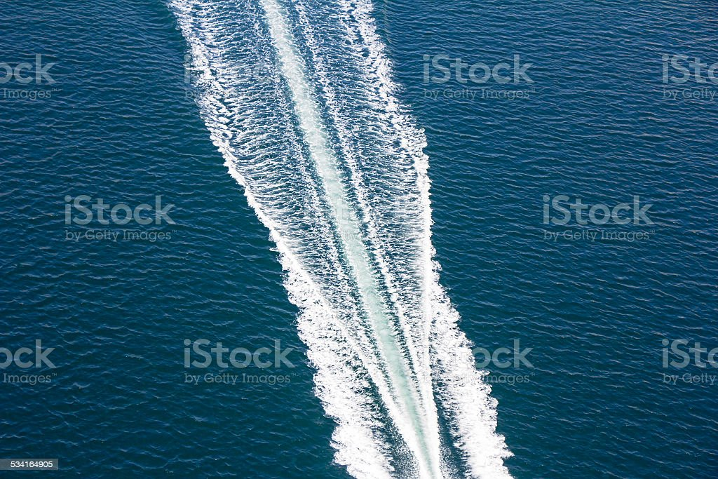 Speed boats trace stock photo
