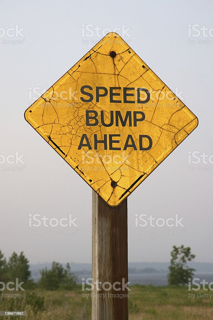 speed bump sign ahead royalty-free stock photo