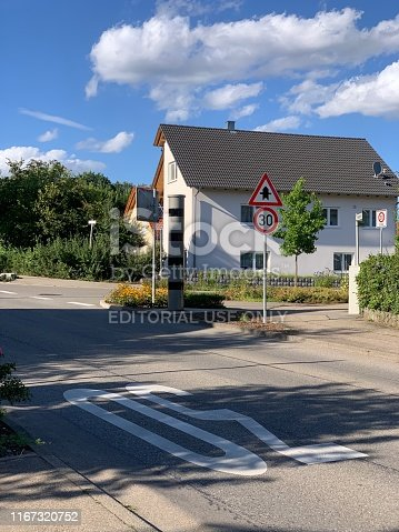 Renningen, Germany - 08/10/2019: The image shows a speed camera in a small village.