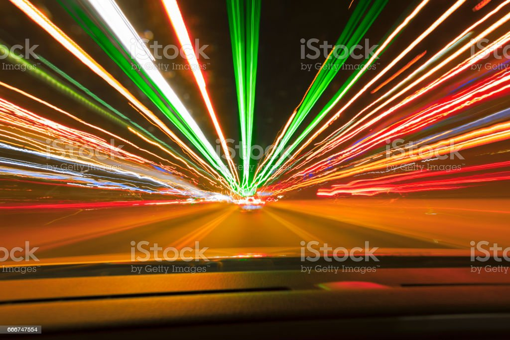 Speed car lights trails. stock photo