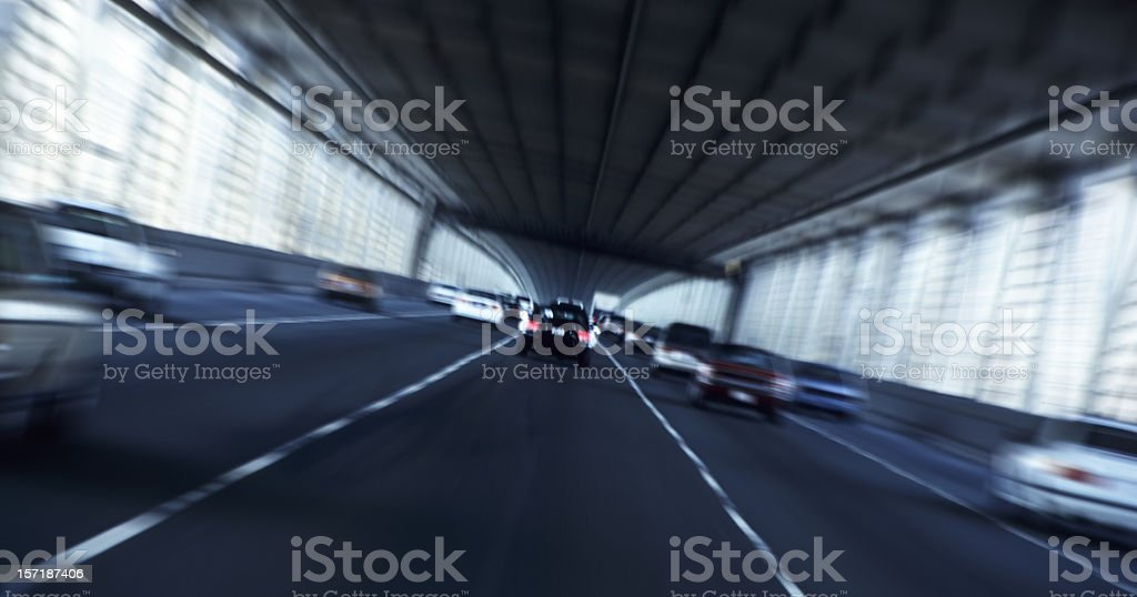 Speed concept on a multi-lane road using blurred effect royalty-free stock photo