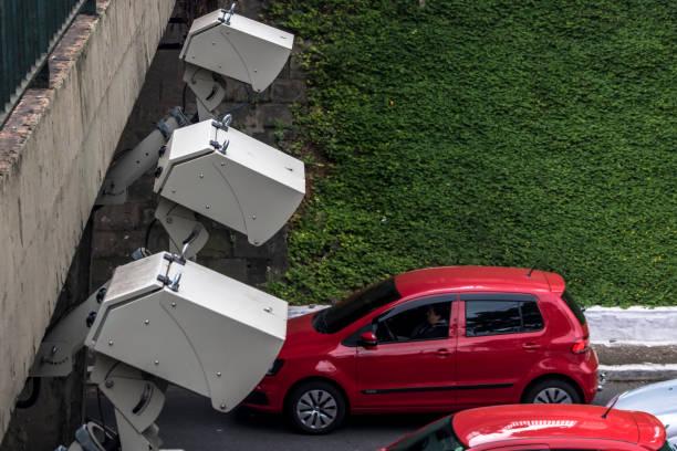 speed control radar camera at avenue in Sao Paulo, Brazil stock photo