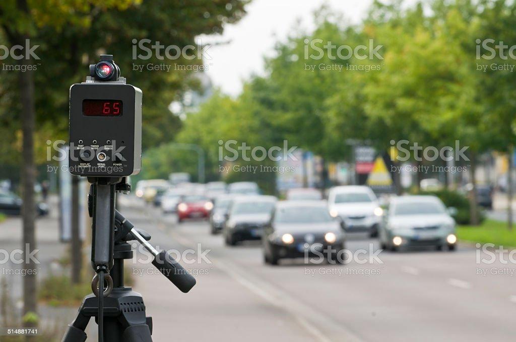 Controllo velocità con un laser ally - foto stock