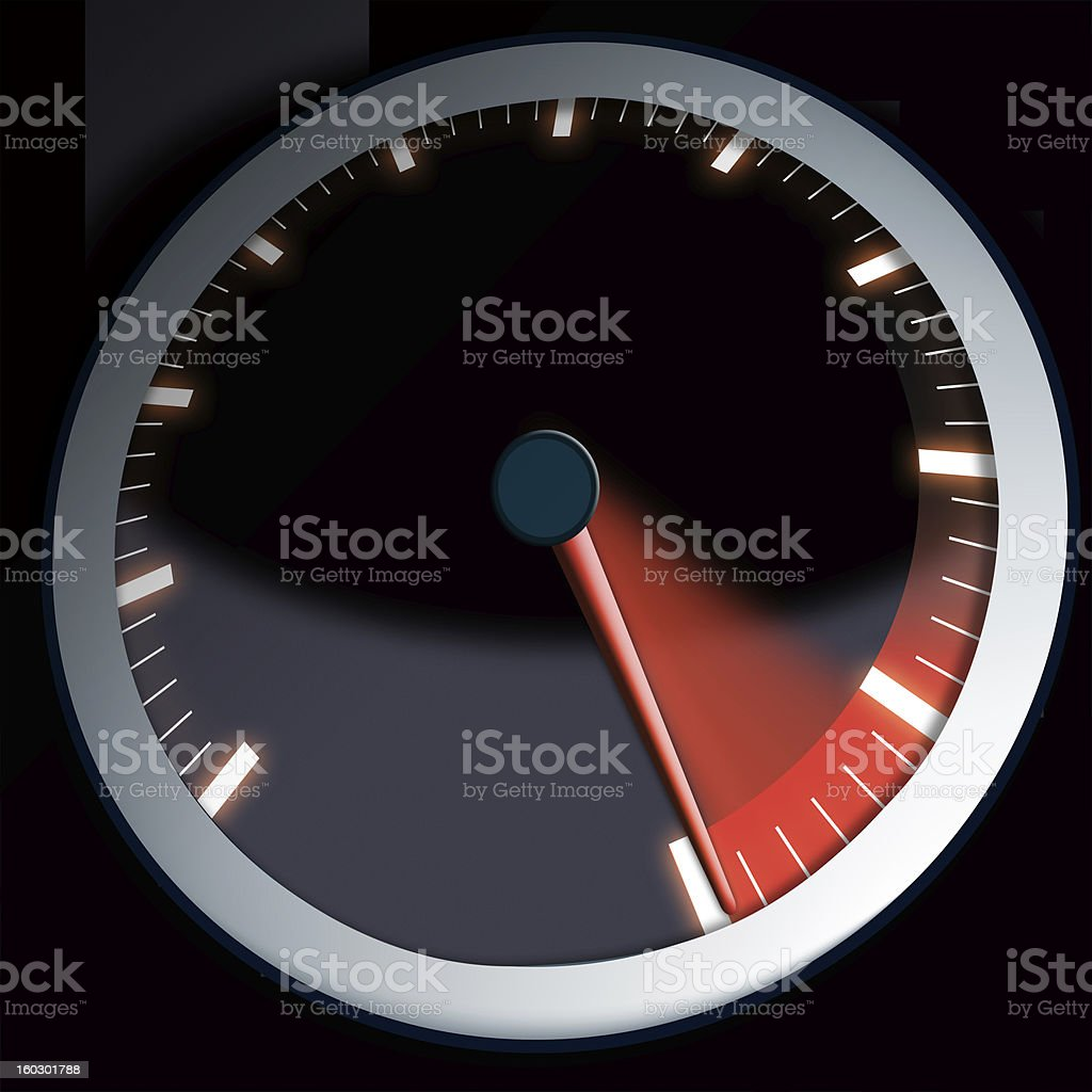 speed dial for a car or machine showing maximum power stock photo
